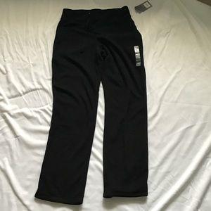 black drawstring waist wide leg fleece pants med